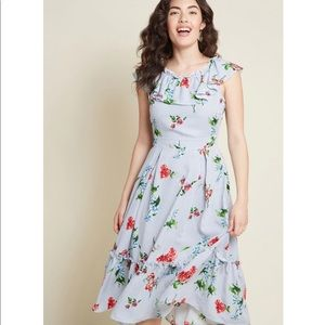 ModCloth Romantic Ruffle Floral Striped Dress